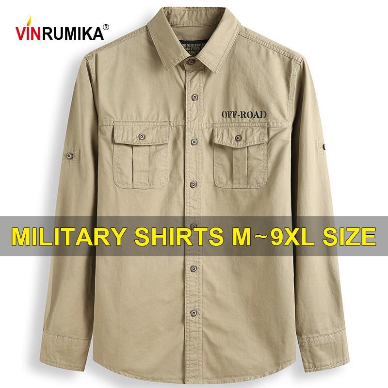 Large Size S-9XL 2020 Europe Military Casual Men's Spring 100% Cotton Khaki Long Sleeve Shirt Man Autumn Army green Blue Shirts