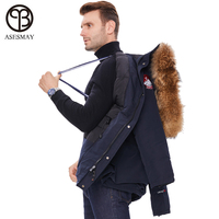 2019 brand men winter jacket men's coat with natural raccoon fur hooded thicken warm padded jackets casual long male outerwear