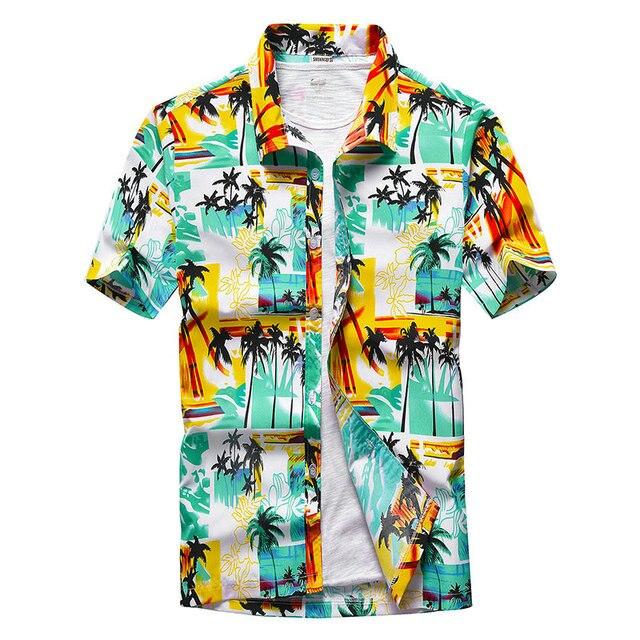 Beach Shirts Men Summer Vacation camisas para hombre Coconut tree Printed Short Sleeve Button Down Hawaiian shirts for Men M-5XL 3