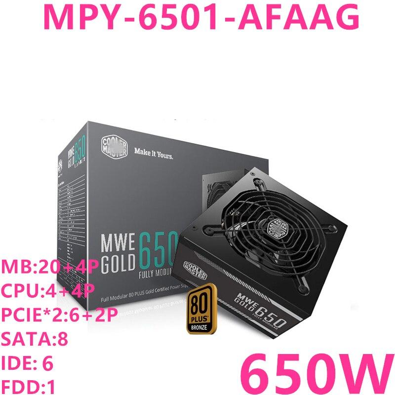 Nouveau PSU pour Cooler Master marque MWE GOLD 650 Module complet ATX RTX2080 jeu hôte alimentation 650W alimentation MPY-6501-AFAAG