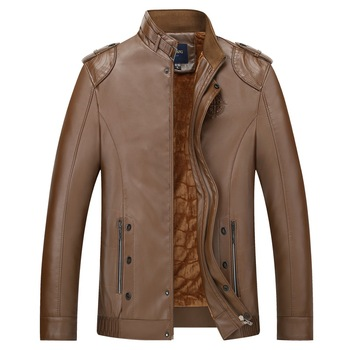 High-grade new men's casual and comfortable breathable fashion no-iron pure color warm all-match synthetic leather jacket coat