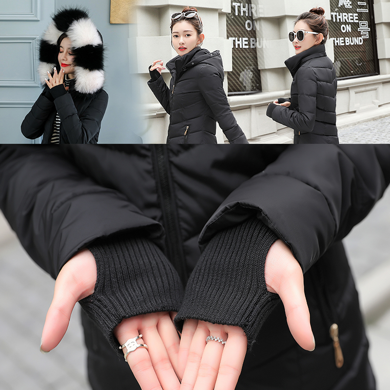 GZGOG Jacket Women Detachable Gloves Snow-Coat Cotton New Winter Padded Parkas Short
