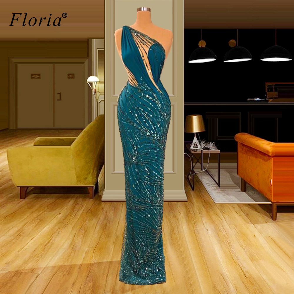 Middle East One Shoulder Prom Dresses 2020 Long Mermaid Sexy Cocktail Dresses Sexy Sequins Wedding Party Dresses платье вечернее