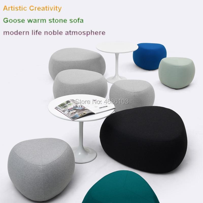 2019 New Artistic Creativity Goose Warm Stone Sofa Cashmere Cloth Sofa Set Living Room Furniture Modern Life Noble Atmosphere
