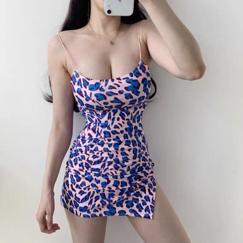 XIBANI фиолетовое леопардовое платье без рукавов, женское летнее тонкое эластичное мини уличное платье с разрезом сбоку, модный наряд для ночного клуба|Платья|   | АлиЭкспресс