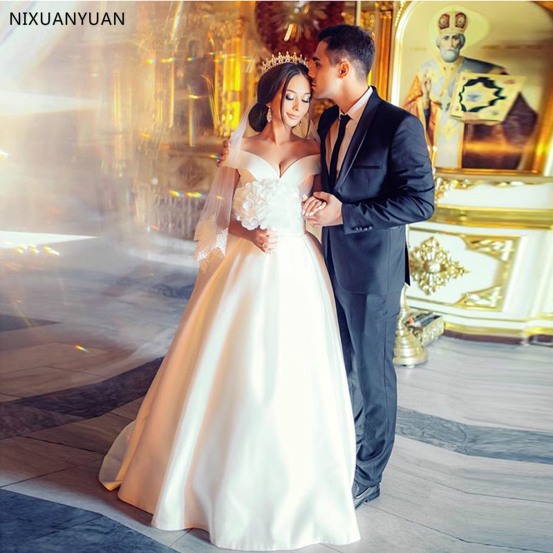 Wedding Dresses Off The Shoulder A-line Satin Bridal Gowns 2020 Vestido De Noiva White Ivory Wedding Gowns