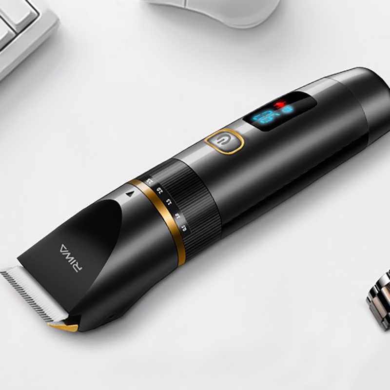 RIWA-afeitadora profesional con batería de litio, con cerámica, titanio, hojas de aleación, afeitadora impermeable, cortadora de pelo, USB, para hombres, Ki