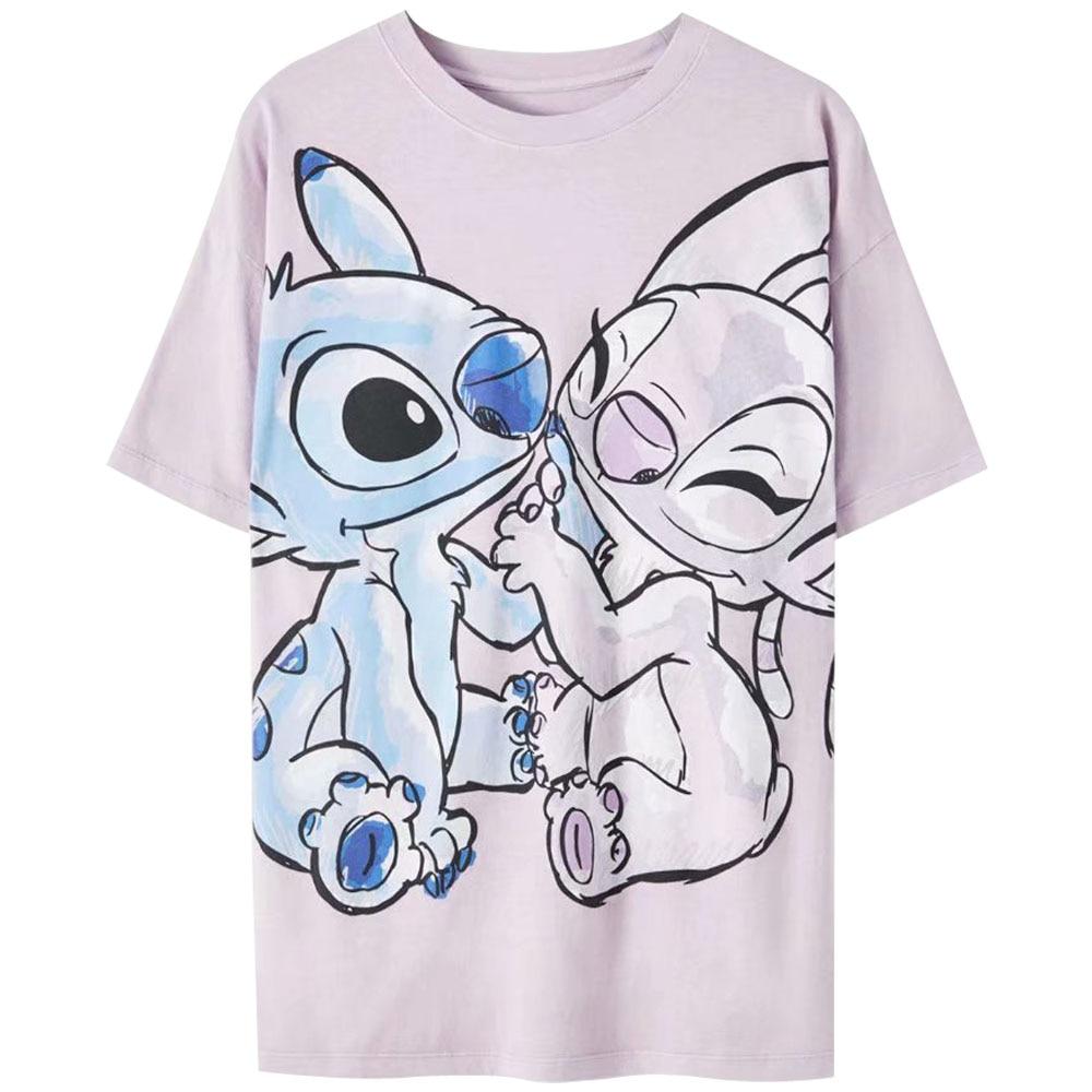 Disney Family T-Shirt Fashion Winnie the Pooh Mickey Mouse Stitch Fairy Dumbo SIMBA Cartoon Print Women T-Shirt Cotton Tee Tops 32