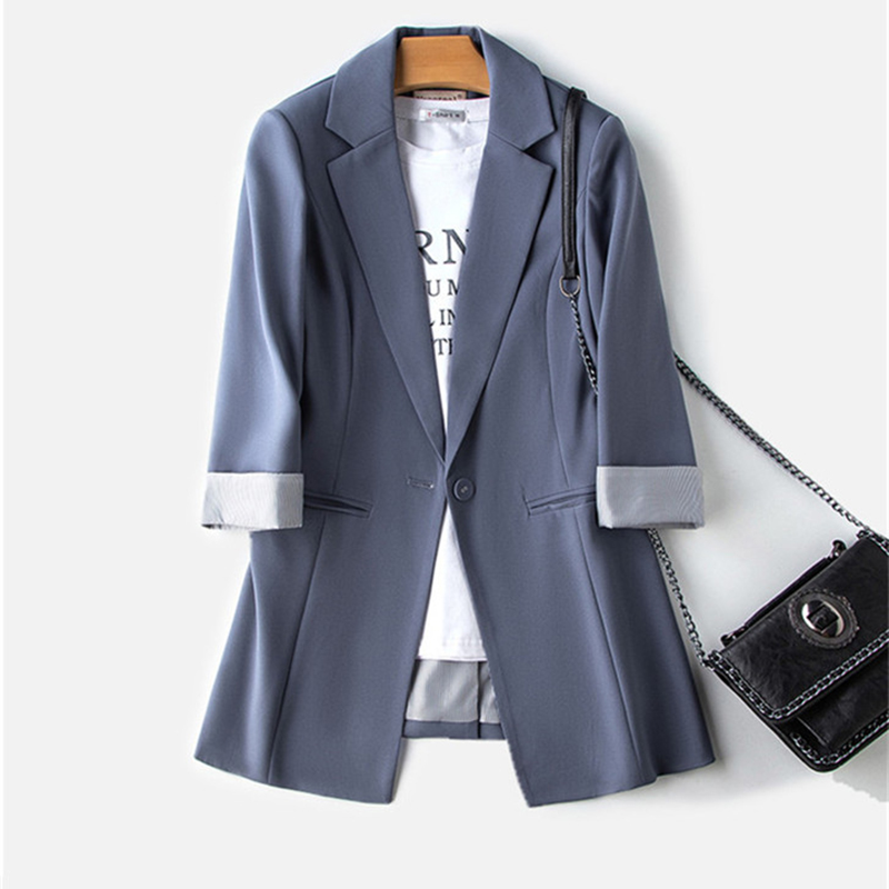 Women's Small Blazers Coat Female Spring Suit Collar Slim One Button Buckle British Style Seven Points Sleeve Black Blazers Z571