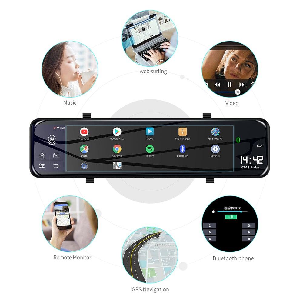 "Phisung 3 Split Screen 12""4G Android 8.1 Car Rearview Mirror Camera 2+32G dual dvr ADAS WiFi BT 4.0 Dash Cam dvrs video recorder 4"