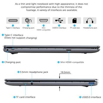 KUU K2S For Intel Celeron J4115 14.1-inch IPS Screen All Metal Shell Office Notebook 8GB RAM 256GB/512GB SSD with type C laptop 6