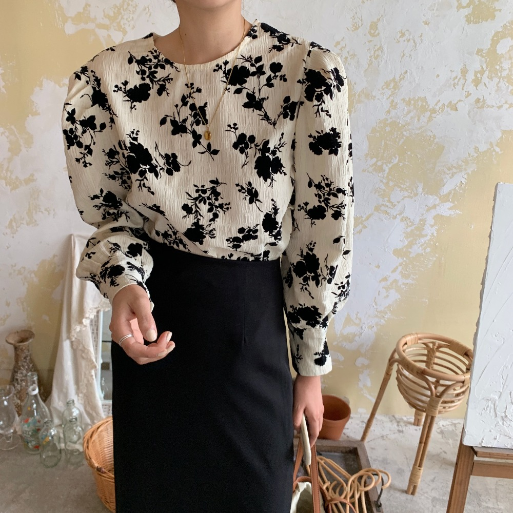 H79510543796543888b7614ac988b80b4i - Spring / Autumn Korean O-Neck Long Sleeves Two-Button Cuffs Floral Print Blouse