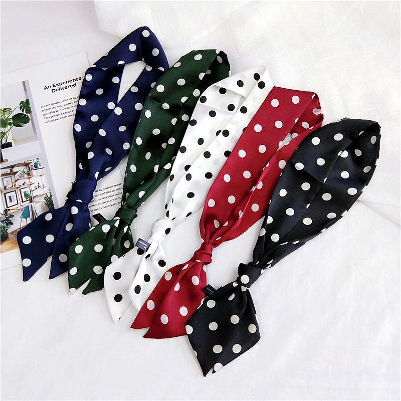 New Style Polka Dot Neckerchief Women's Spring Korean-style Versitile Fashion Scarf Autumn And Winter Long Small Silk Printed Do