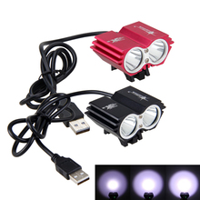 مقاوم للماء USB الدراجة الخفيفة 8000LM 2 X T6 LED دراجة أمامية المصباح المزدوج مصابيح للدراجات لا بطارية