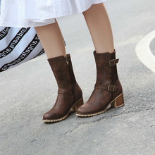 women mid-calf boots round toe high heels warm shoes woman chaussure zapatos mujer WXZ195 hot sale beautiful women mid calf velvet boots block heeled blue black pointed toe back zip boots party high heels zapatos mujer