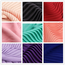 2Meters Crumpled Pleat Pearl Chiffon Crepe Plain Fabric Solid Organ Crushed Soft Breathable DIY Skirt Fabric Bazin Riche Getzner