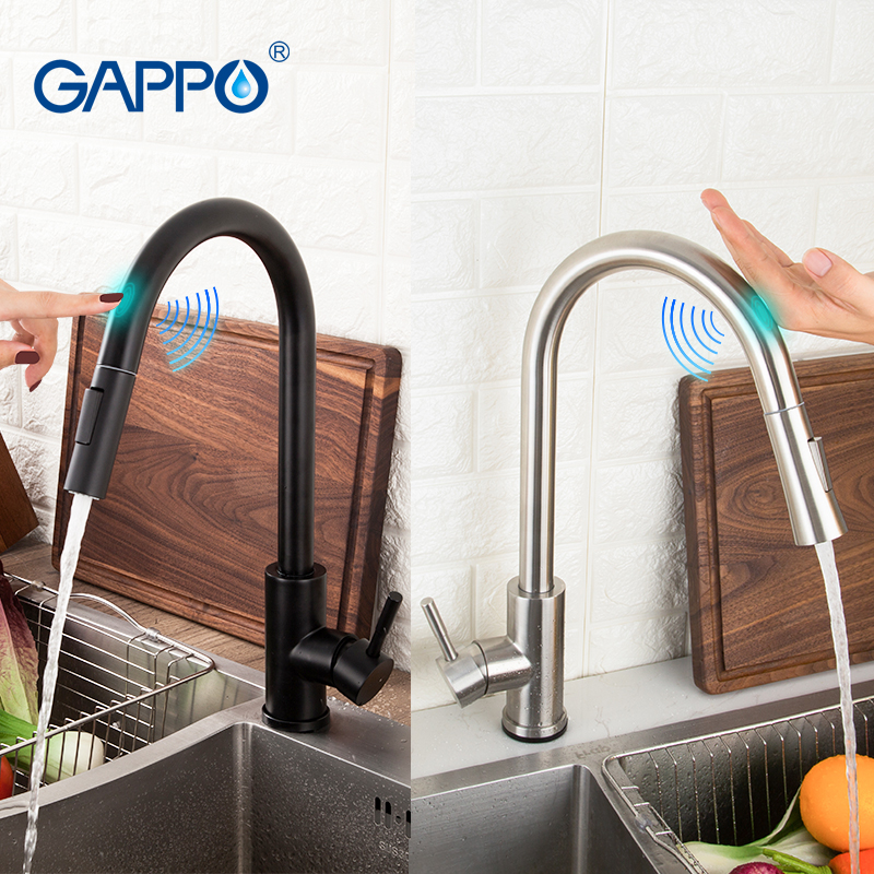 GAPPO Sensor Touch Kitchen Faucets Black Touch Inductive Sensitive Faucets Stainless Steel Mixer Tap Single Handle Dual Outlet W