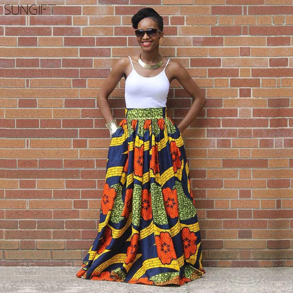 SUNGIFT Dashiki African Dresses For Women Slim Waist Africa Digital Print Maxi Length Skirt African Clothing For Travel 10 Style