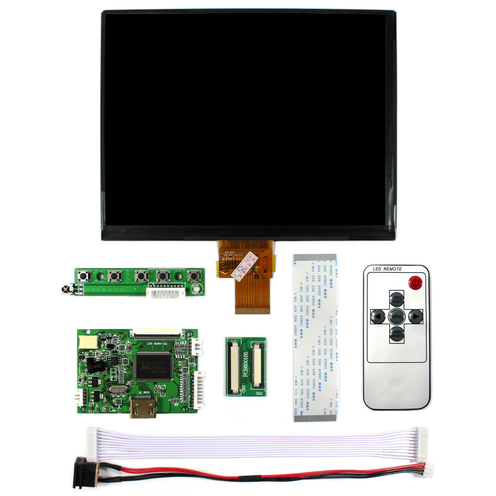 Latumab 8 Inch IPS 1024*768 Tablet HD Screen LCD Display HJ080IA-01E HE080IA-01D Driver Board HDMI Control Monitor For Raspberry