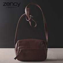 زنسي 100% جلد طبيعي المرأة حقيبة ساعي حقيبة يد خمر حقائب الكتف عالية الجودة الإناث Crossbody لينة محفظة عادية