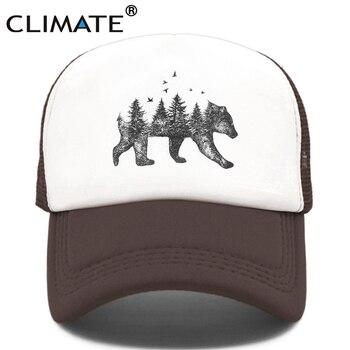 CLIMATE Forest Bear Trucker Cap Hunt Hunting Hat Hip Hop Men Women Baseball Cool Summer Mesh Caps - discount item  47% OFF Hats & Caps
