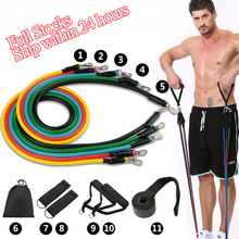 11Pcs Resistance Bands Set Crossfit Stretch Training Yoga Exercise Fitness Band Rubber Expander Tubes Home Gym Pilates Pull Rope(China)