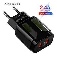 AIXXCO 5V 2A האיחוד האירופי Plug LED אור 2 USB מתאם נייד טלפון קיר מטען מכשיר מהיר תשלום QC 3.0 נייד מטען מהיר מטען
