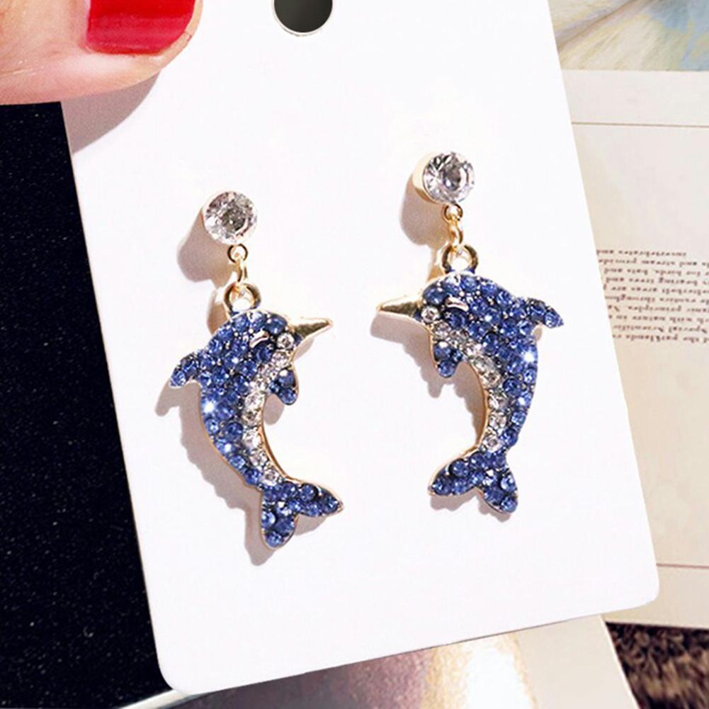 Милые блестящие женские серьги-гвоздики в форме дельфина, инкрустированные стразы, ювелирные изделия, подарки для женщин или друзей