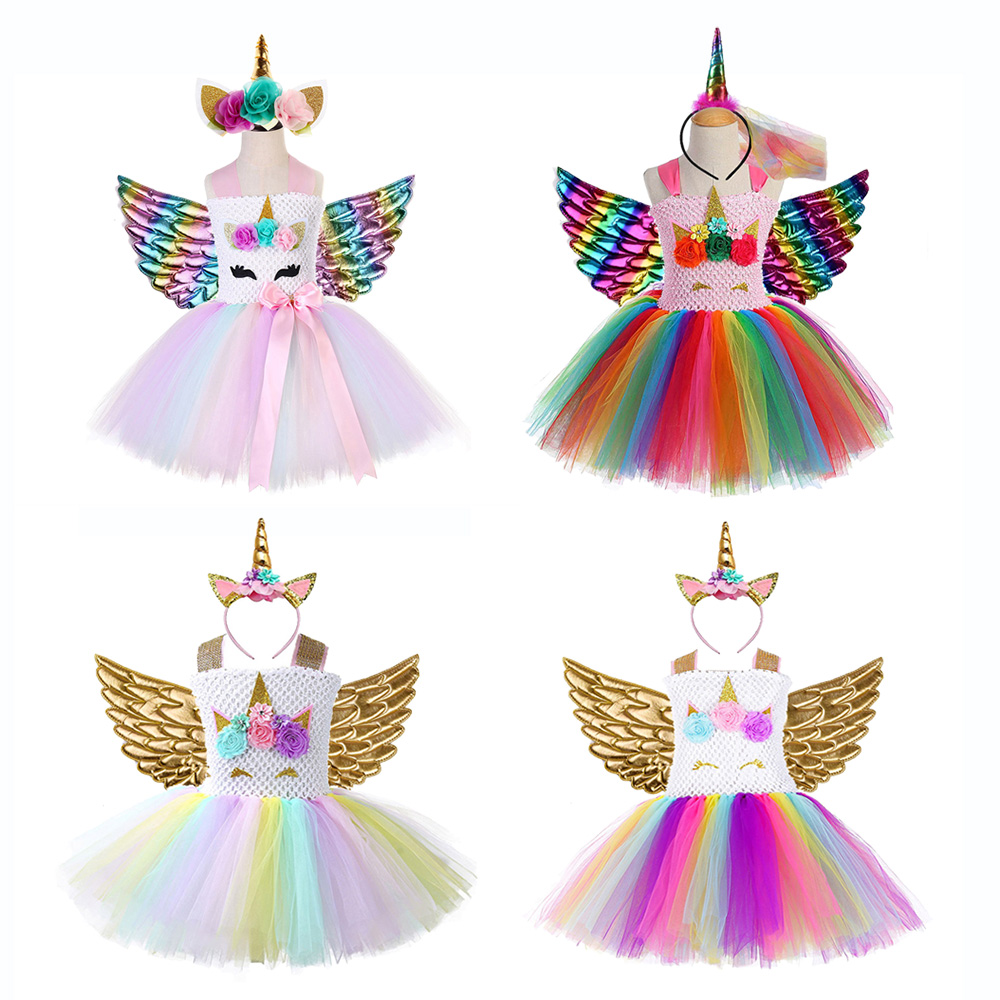 Rainbow Princess Children Unicorn Dress Girl Christmas Tutu Flower Party with Headband Wing Set