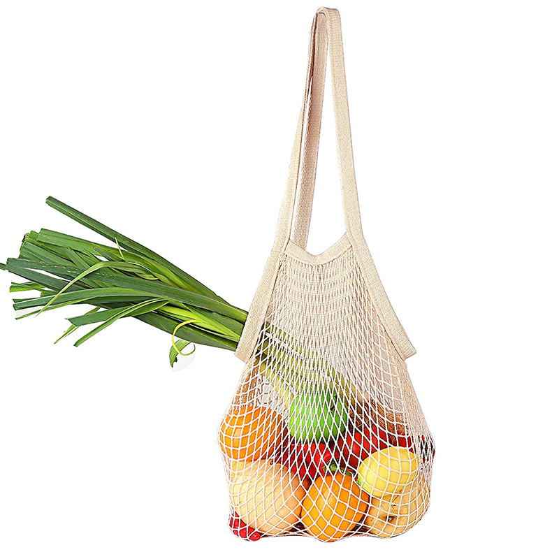 Net Cotton Shopping Bag Long Handle Portable Washable Reusable String Bags Natural Cotton Produce Bags For Grocery Shopping