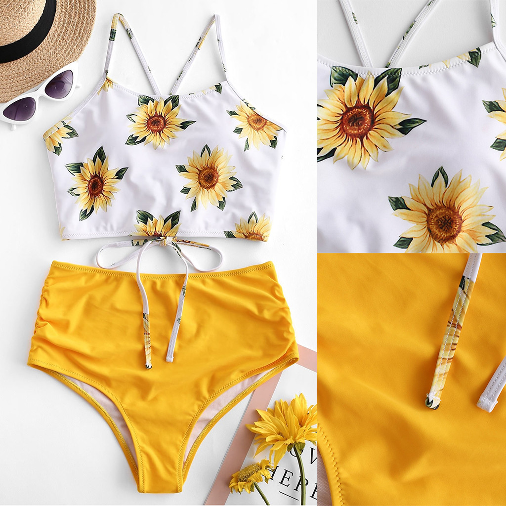 2020 <font><b>Summer</b></font> <font><b>Women</b></font> Printing Bandage <font><b>Bikini</b></font> Set Brazilian Swimwear <font><b>Hot</b></font> <font><b>Sexy</b></font> Beachwear Swimsuit Two Pieces Bathing Suit Pad Biquini image