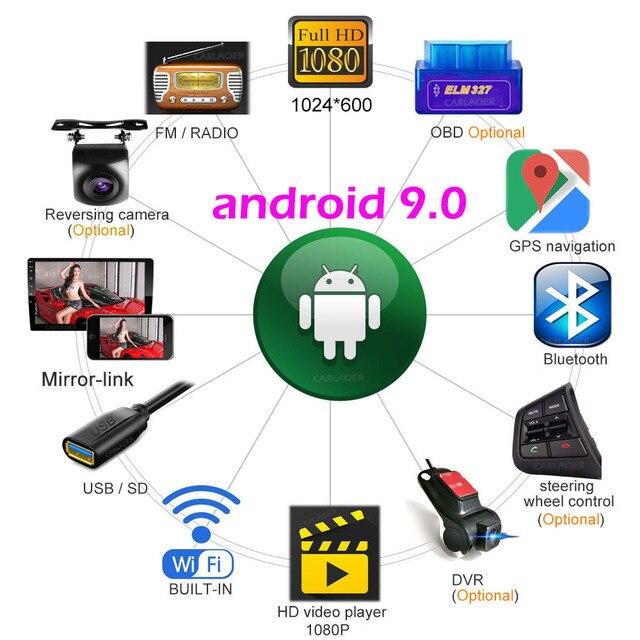 2 din samochód Android 9.0 Multimedia radiowe dla Suzuki Buick Volkswagen ISO Hyundai Kia Honda Toyota Nissan mitsubishi Ford Outlande