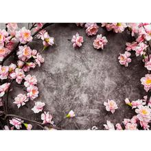 Pink Flowers Gray Wall Photo Backgrounds Vinyl Cloth Photobooth Backdrop for Children Baby Lovers Photocall Photography Props