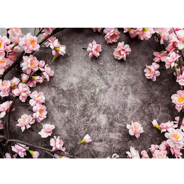 สีชมพูดอกไม้สีเทาWall Photoพื้นหลังผ้าไวนิลPhotoboothฉากหลังสำหรับเด็กคนรักPhotocallการถ่ายภาพProps