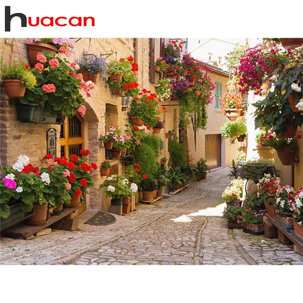 Huacanフルスクエア & ラウンドダイヤモンド塗装風景diyダイヤモンド刺繍ストリート花の装飾ホーム