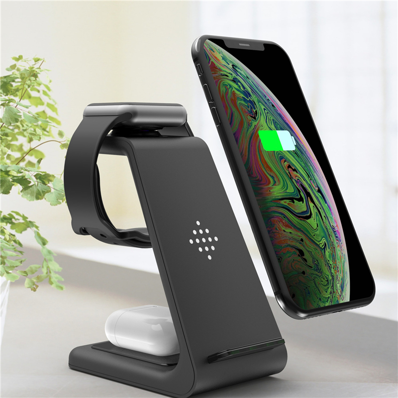 3 in <font><b>1</b></font> Wireless Charger For <font><b>iPhone</b></font> 11 pro XR Wireless Charging Dock Station For iWatch <font><b>5</b></font> 4 2 3 2 <font><b>1</b></font> for Airpods Pro TWS Charger image
