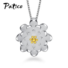 купить Top Brand 925 Sterling Silver Pendant Necklaces Lotus Flower Charms With Chains Elegant Concise Jewelry For Women Wedding Party дешево