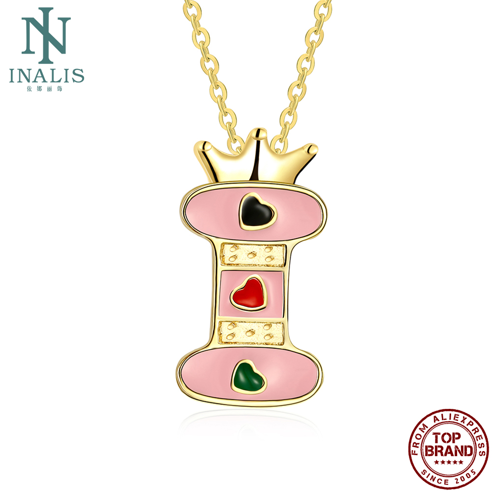 INALIS Pink Letters Series Necklace For Women Trendy Gold Plated Pendent Jewelry Cute Crown Letter I Heart Necklace Wife Gifts