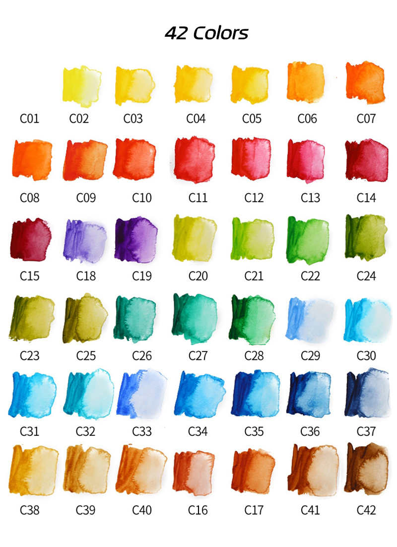 Superior 18253342colors Solid Watercolor Paint Set With Water Brush Pen Portable Water color Pigment For Drawing Art Paint (8)