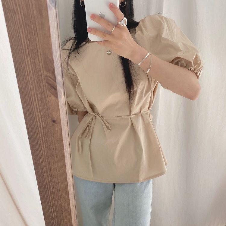H79523fd0f66f43a39d76cd87932a502e2 - Summer O-Neck Short Puff Sleeves Cotton Lace-Up Solid Blouse