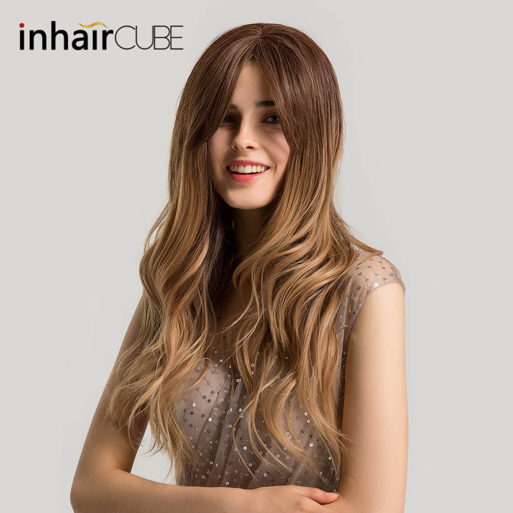 Inhaircube Ombre Brown Blond Synthetic Wig For Women Water Wavy Long Hair Wigs With Bangs 24