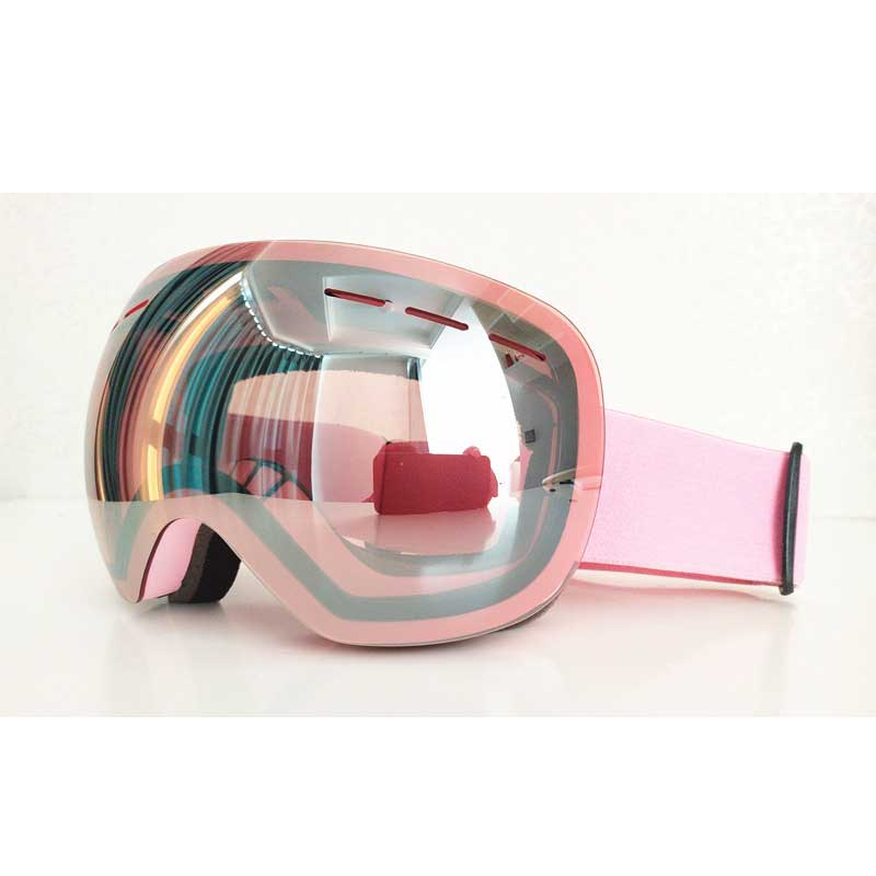 ROBESBON Large Spherical Pink HD Lens Ski Goggles German PC Lens + Italian Anti-fog Lens Snowmobile Snowboard Goggles Men&women
