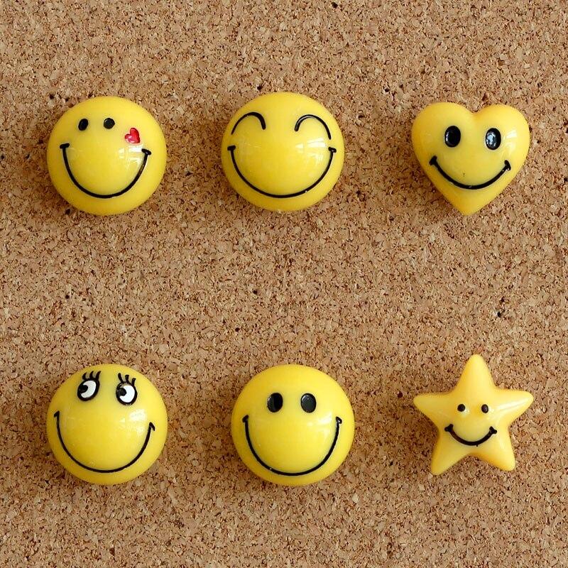 6pcs Office Push Pins Thumbtack Cute Smiley Face Creative Push Pins Board Cork Message Board Decoration Stationery Random Style