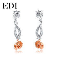 EDI Romantic Series Real 925 Sterling Silver Drop Earrings Natural Gemstone Crystal Rose Flower Two Tone Earrings Gift For Women(China)