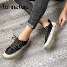 Women Shoes Mixed-Colors Winter Genuine-Leather New Sewing Lace-Up Johnature Handmade