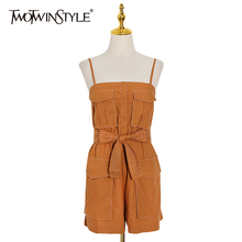 TWOTWINSTYLE Elegant Women Playsuits Square Collar Sleeveless Spaghetti Strap High Waist Lace Up Bow