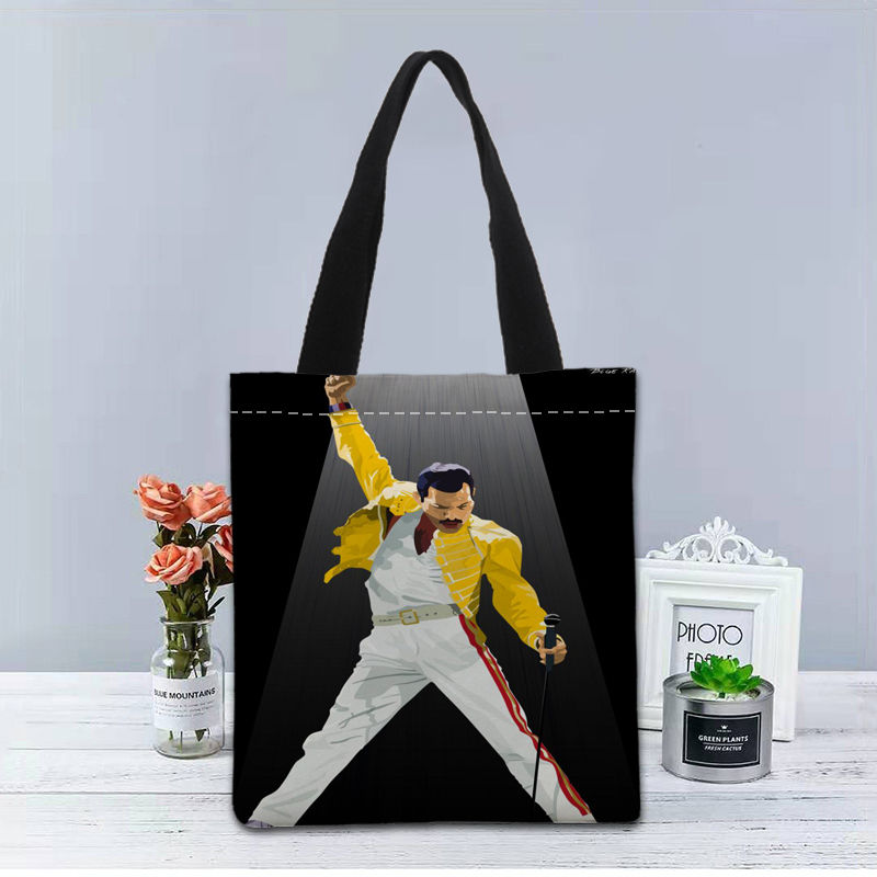 Image 2 - New Custom Freddie Mercury printed Handbag canvas tote bags shopping travel Casual Useful Shoulder Bag women bagTop-Handle Bags   -