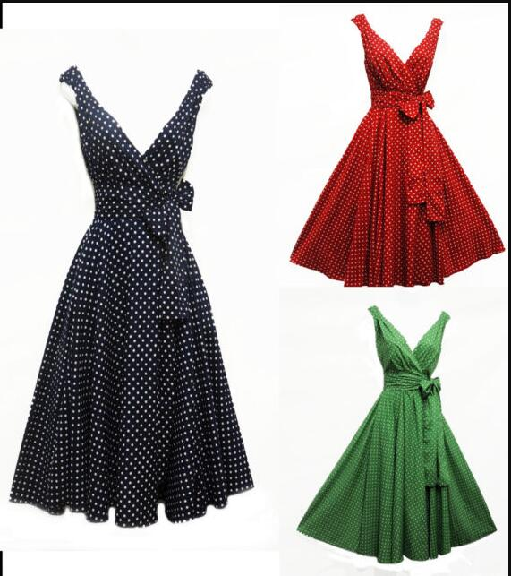 Women Sleeveless Summer Vintage Dresses Sexy Black Polka Dot  Print V-neck Rockabilly Pin Up Party Dress Vestidos Plus Size