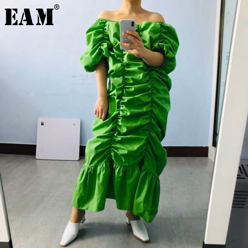 [EAM] Women green Pleated Split long Big Size Dress New Slash Neck Half Sleeve Loose Fit Fashion Spring Summer 2020 1T20105