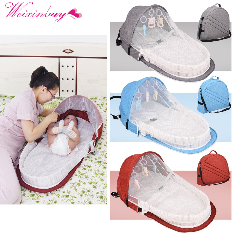 Portable Bed With Baby Toy For Baby Foldable Baby Bed Travel  Sun Protection Mosquito Net Breathable Infant Sleeping Basket